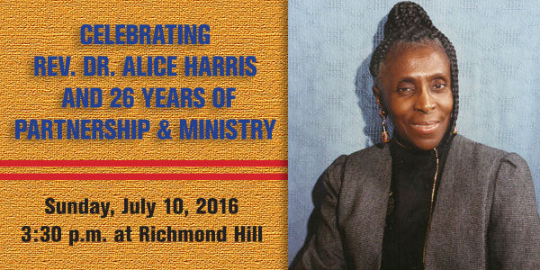 Save the Date! We celebrate Dr. Alice Harris on Sunday, July 10