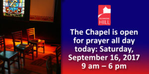Our Chapel is open for prayer all day today.